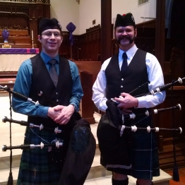 Angus (left) with student Chris Eller at the Lexington MWPBA Solo Qualifier in February 2015.