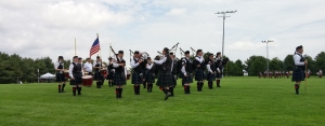 The Fountain Trust Pipe Band preparing to march onto the parade field.