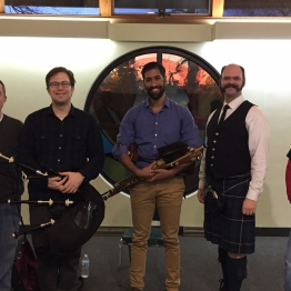 From Left to Right: Chris Figland, Angus Martin, Siddharth Bhaskar, Chris Eller, Mary Jean Holwager. Performers at the January gathering of the Bloomington Pipers' Society on January 22, 2017.