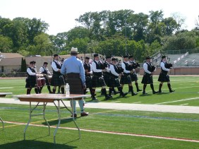 The Fountain Trust Pipe Band marching into the competition arena at the Milwaukee Highland Games on June 2, 2017.
