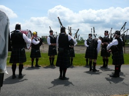 The Fountain Trust Pipe Band warming up at the Chicago Games in 2017.